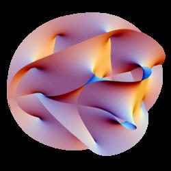 Sección bidimensional proyectada en 3D de una variedad de Calabi-Yau de dimensión 6 embebida en espacio proyectado complejo.