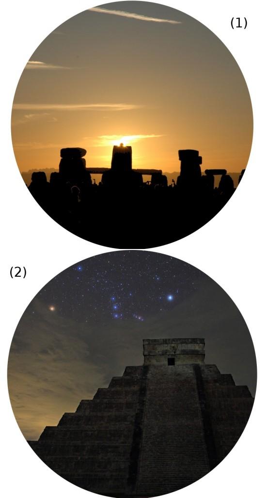 Paisaje celeste de Stonehenge en la campiña britanica (1) y de Chichén Itźa en Méjico (2)