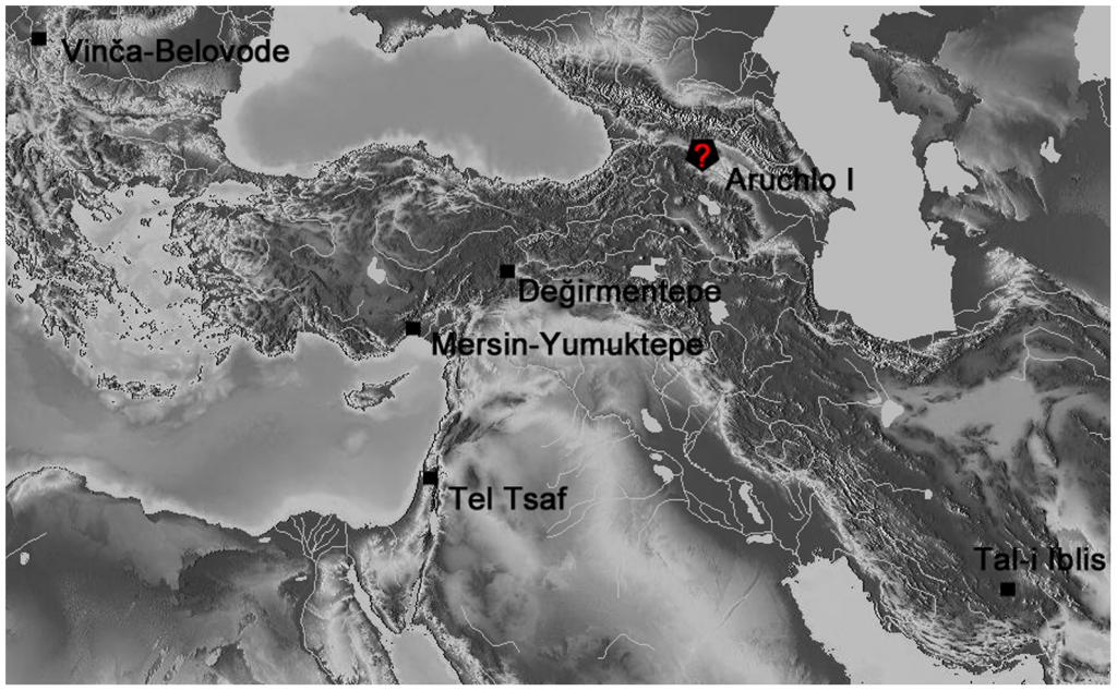 Mapa que muestra la disposición de los yacimientos y el probable origen del cobre de Tel Tsaf