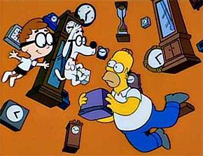 Homer Simpson viajando a través del tiempo empleando una tostadora estropeada