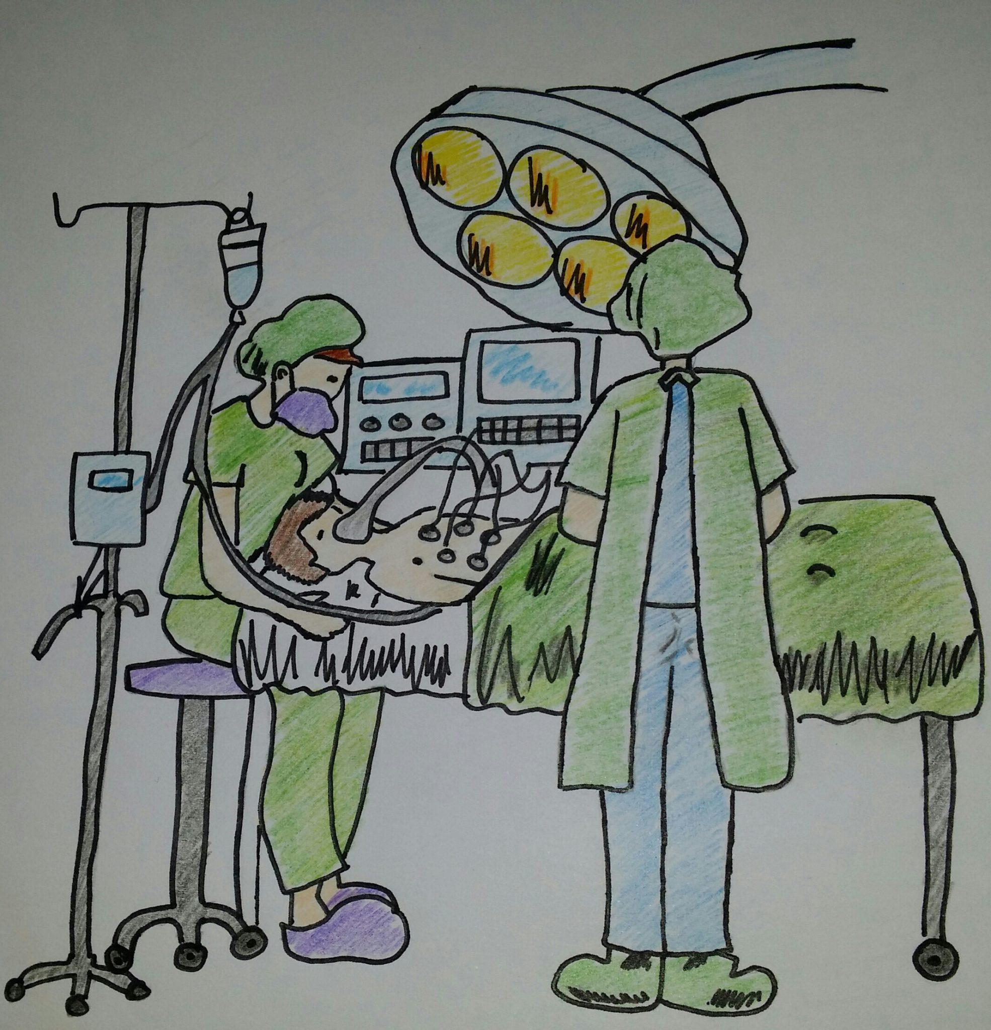 Médicos administrando 15-35 mg/kg/min de Ketamina para anestesiar al paciente durante la operación quirúrgica.