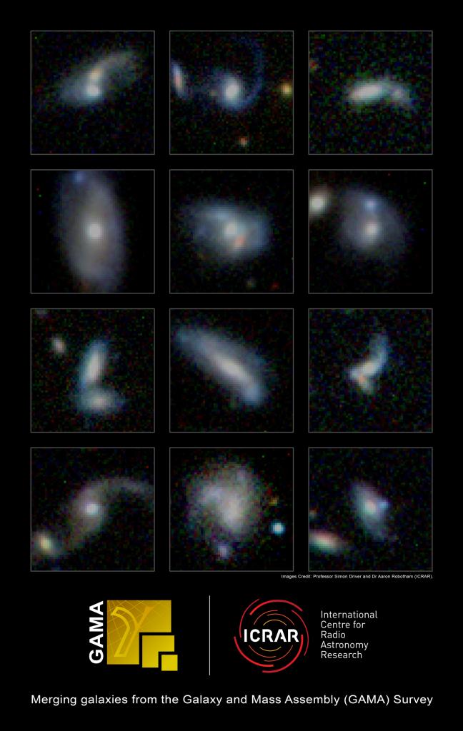 Imágenes de algunas de las galaxias en pleno proceso de colisión estudiadas. Simon Driver and Dr Aaron Robotham, ICRAR.