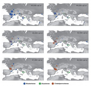 Tomado y modificado del artículo principal. Secuencias temporales entre el año 45.000 y 40.000 BP que muestran la distribución de los yacimientos Musterienses, Uluzzienses y Chatelperronienses durante ese periodo.