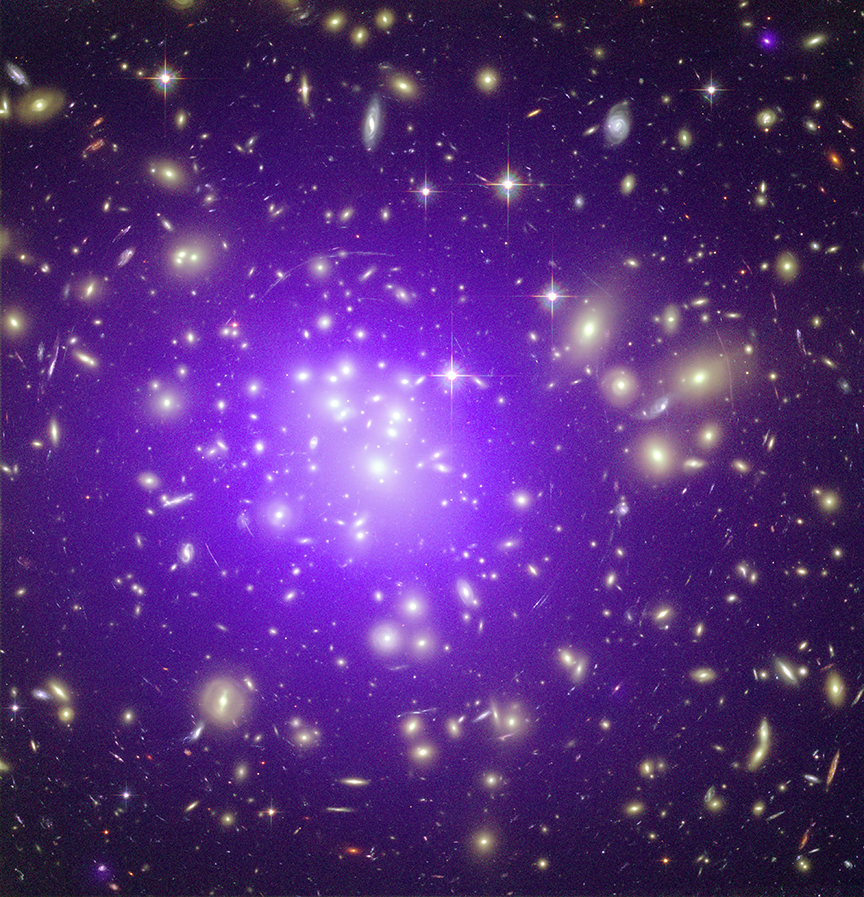 A galaxy cluster at a distance of about 2.3 billion light years from Earth.