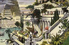 Reconstrucción de Babilonia con los Jardines Colgantes. Artística del siglo XVI Martin Heemskerck.