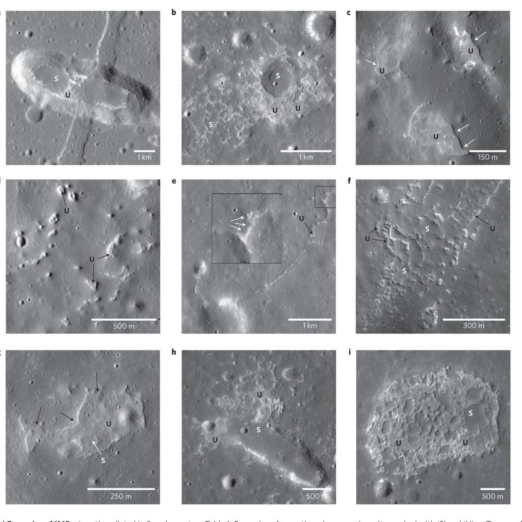 Algunas de las formas estudiadas por los autores del artículo. NASA/GSFC/Arizona State University.