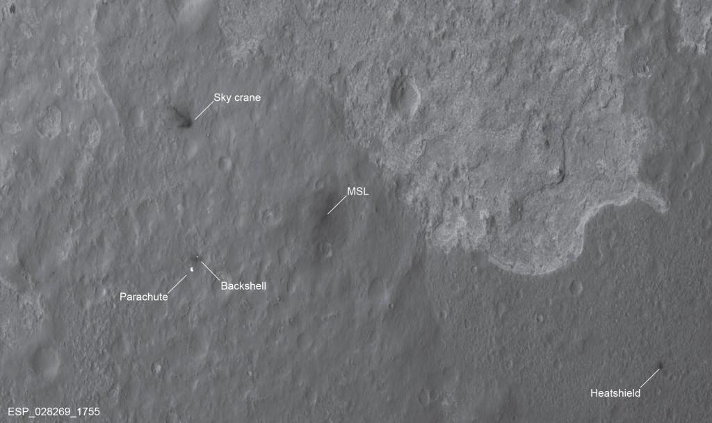 Fotografía del lugar de aterrizaje del Curiosity, junto con todos los demás elementos tomada por la HiRISE. NASA/JPL/University of Arizona.